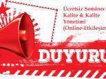 Ücretsiz E-Devlet Katılım Belgeli Kalite & Kalite Yönetimi Semineri